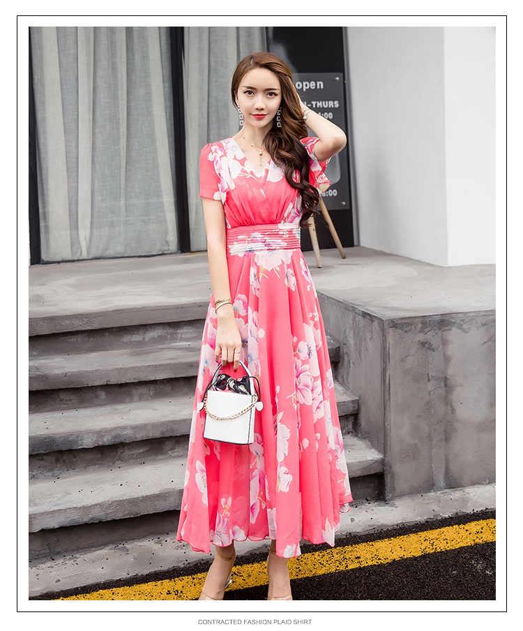 9ffb4f7961 Plus Size 5XL 2019 Women Summer Boho Floral Print Beach Chiffon Dress Sexy  V Neck Short Sleeve Tunic Sundress Long Maxi Dresses