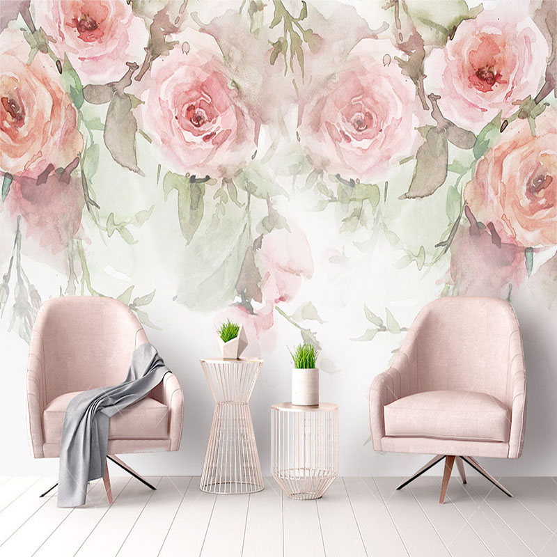 Modern Rose Flowers Watercolor Hand-painted Murals Wallpaper Living Room Bedroom Pastoral Background Wall Painting 3D Wall Paper