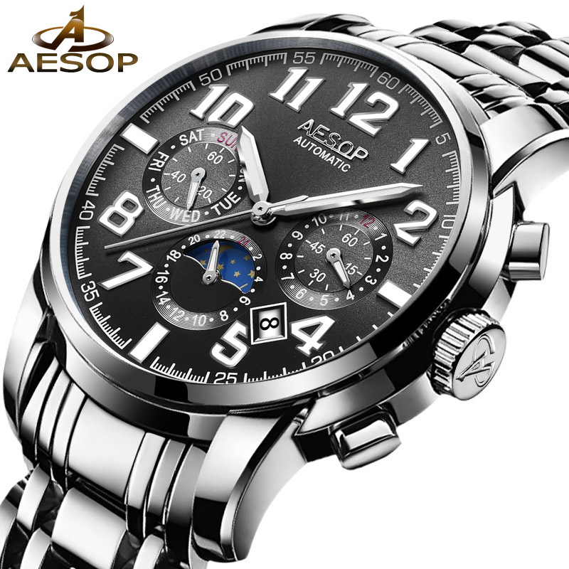 AESOP Men Watch Automatic Mechanical Men Wrist Wristwatch Stainless Steel Black Male Clock Famous Brand Relogio Masculino Box 27 fashion top brand watch men automatic mechanical wristwatch stainless steel waterproof luminous male clock relogio masculino 46