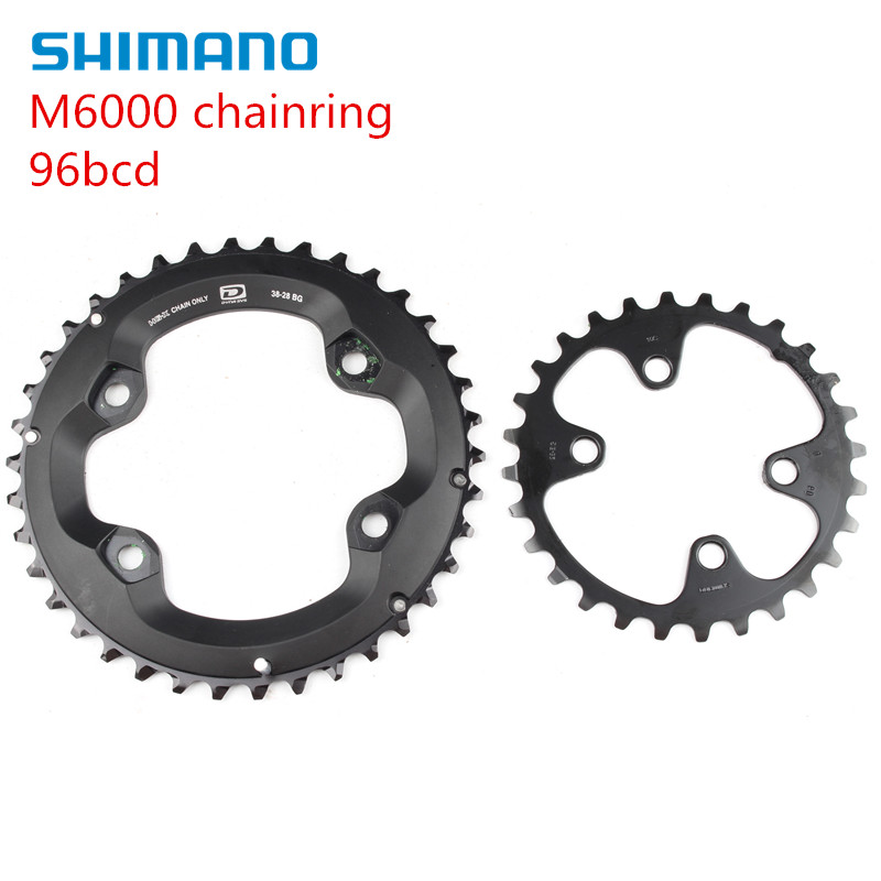 shimano DEORE m6000 chainring 96bcd 38 28t 36 26t запчасть shimano deore m615 175 мм 38 26t