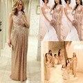 2015 oro rosa lentejuelas de dama de honor vestidos V cuello una línea longitud del piso del oro Bling largo más el tamaño
