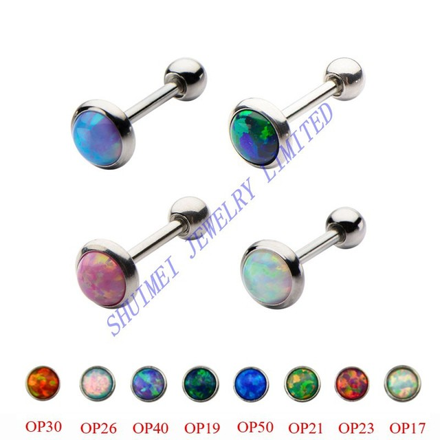 90f64d8ce SHUIMEI 8Pcs Mix Color Opal Stone Helix Ear Tragus Barbell Cartilage Earring  Bar Body Piercing Jewelry