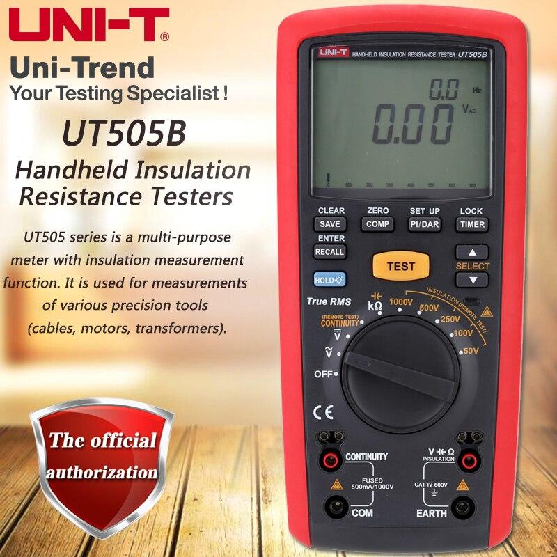 UNI T UT505B Handheld Insulation Resistance Tester True RMS Insulation Resistance Multimeter 1000V Megohmmeter LCD Backlight
