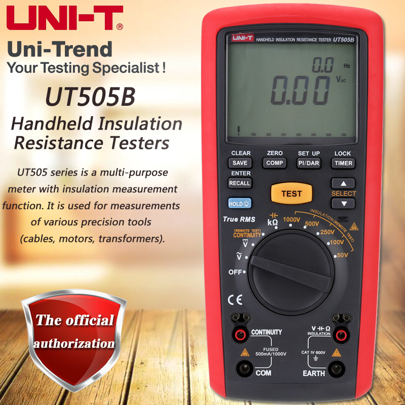 UNI T UT505B Handheld Insulation Resistance Tester True RMS Insulation Resistance Multimeter 1000V Megohmmeter LCD Backlight