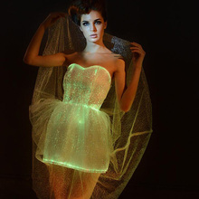 Светодиодный светильник, платье, светящаяся одежда, волоконно-оптический танцевальный костюм для девочек, светодиодный, свадебное платье