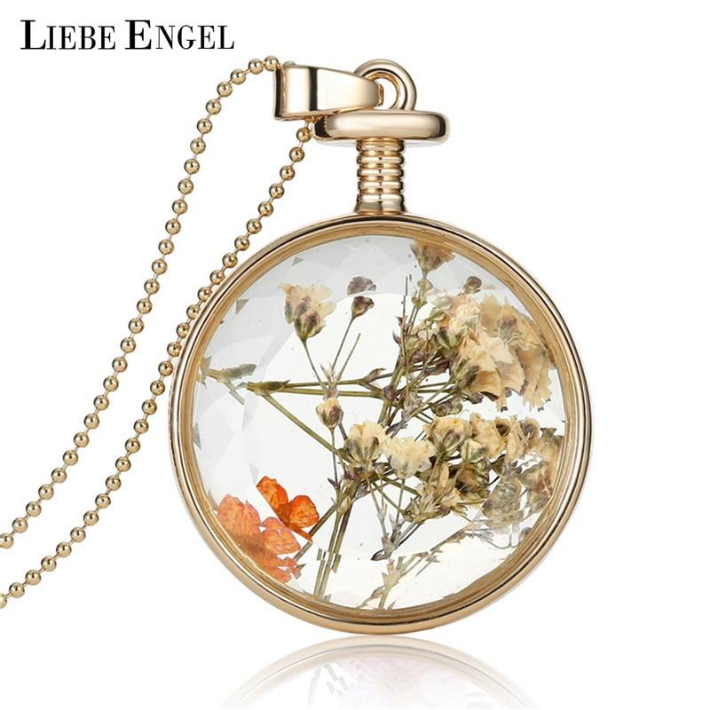 LIEBE ENGEL Női Ékszer kollázsok Szárított virágok Üveg nyaklánc és medál Arany Vintage hosszú lánc nyaklánc Nyári finom ékszerek