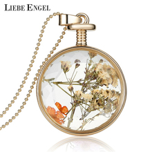LIEBE ENGEL Women Jewelry Collares Dried Flowers Glass Necklace Pendant Gold Vintage Long Chain Necklace Summer