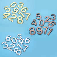 Plastic Gold House Number 70mm 0/1/2/3/4/5/6/7/8/9# Plaque Number House Hotel Door Address Digits Sticker Plate Sign