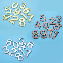 Plastic Gold House Number 70mm 0/1/2/3/4/5/6/7/8/9# Plaque Hotel Door Address Digits Sticker Plate Sign