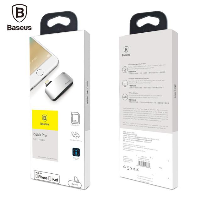 Augmentez le stockage de votre iPhone de 128Go grâce au  Lecteur de Carte Baseus pour iPhone 7 6 S 6 Plus 5S iPad Macbook