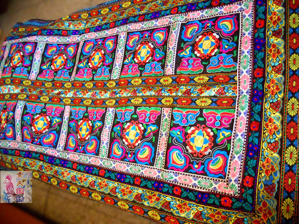 Hmong Embroidery Rectangle Tablecloth Hmong Hand Woven Fabric