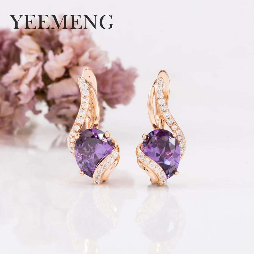 YEEMENG New Round Clear Earrings Women Natural Zircon Party Fine Fashion Jewelry 585 Rose Gold Dangle Earrings