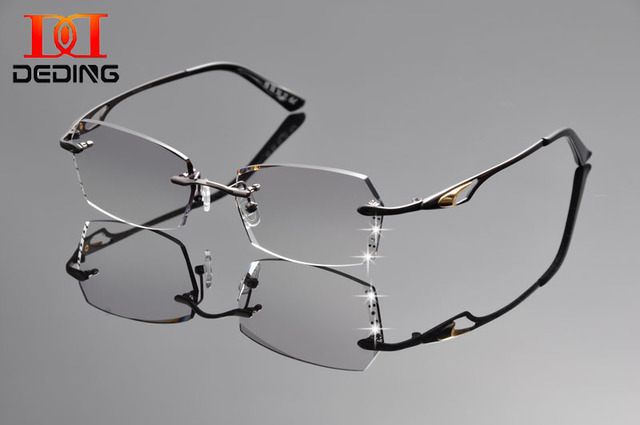 63cff7f4acd0 DeDing 54mm Men s Titanium Alloy Flexible Rimless Frame Prescription  Eyeglasses 1.61index anti blue rays Gray