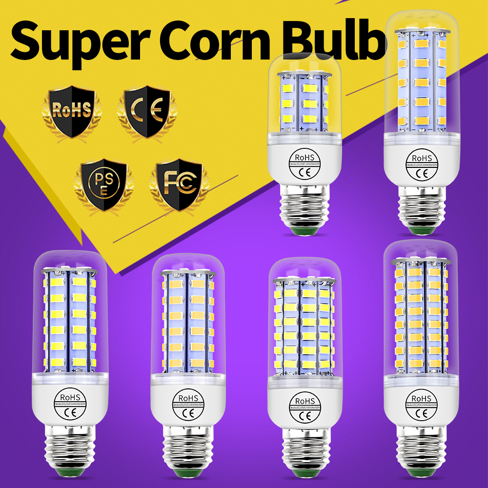 E27 Led 220V Corn Bulb E14 Led Lamp 230V 5730 SMD Energy Saving Candle Light Ampul for Chandelier Lighting 24 36 48 56 69 72leds