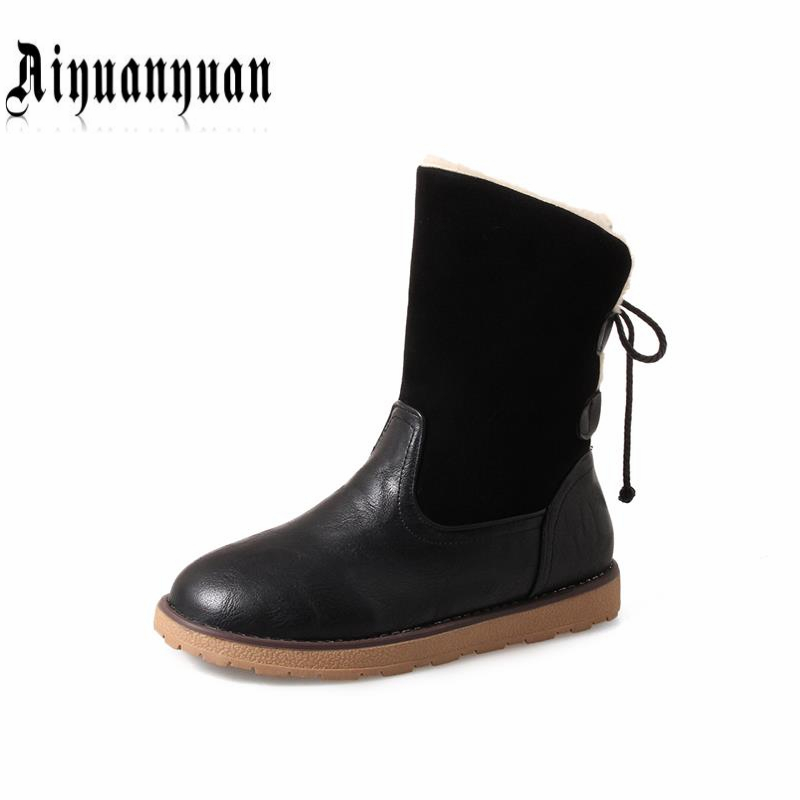 AIYUANYUAN warm winter mid calf snow boots Big Size 40 41 42 43 cross tied design