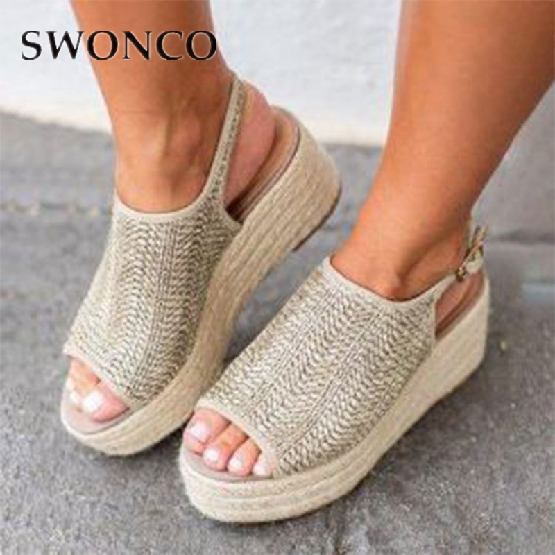 SWONCO Sandals Women Weaving Cane Summer Breathable Sandalias 2019 Ladies Plus Size 42 43 Wedges Platform Anti-Slippery FemaleSWONCO Sandals Women Weaving Cane Summer Breathable Sandalias 2019 Ladies Plus Size 42 43 Wedges Platform Anti-Slippery Female