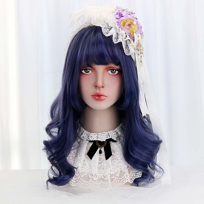 """22 """"synthetische Haar Blau Lange Welle Lolita Perücken Mit Pony Cosplay Party Perücken Für Frauen Japan Harajuku Lolita Perücken Hitze Beständig"""