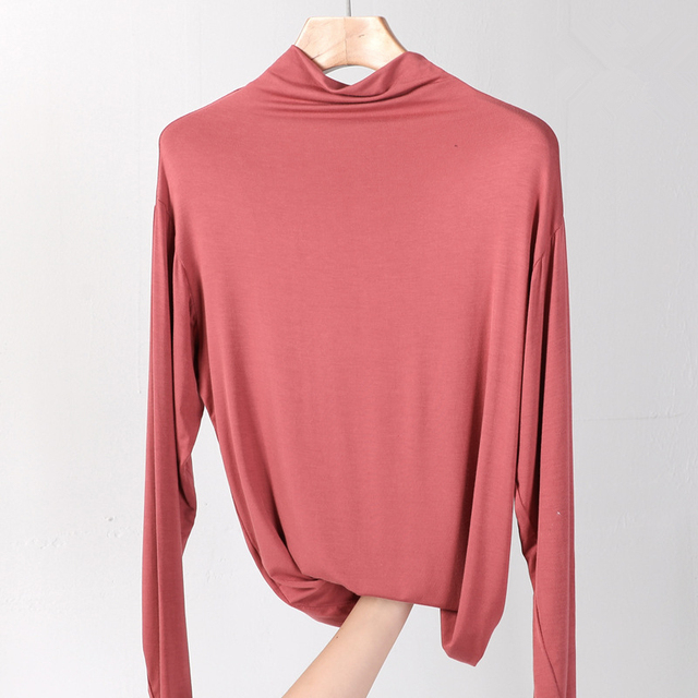 100% cotton long sleeve Solid Turtleneck t-shirt women high stretch slim tops spring autumn skinny Basic Bottoming tshirt tight 3