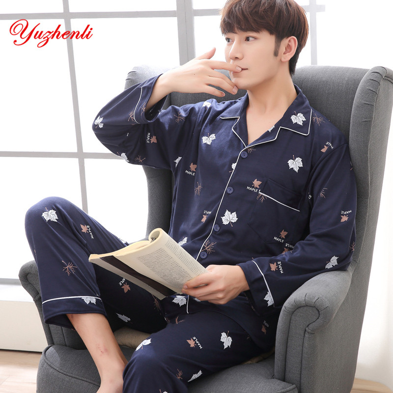 Yuzhenli Men's Pajamas Spring Autumn Long Sleeve Sleepwear Cotton Plaid Cardigan Pyjamas Men Lounge Pajama Sets Plus Size 3XL