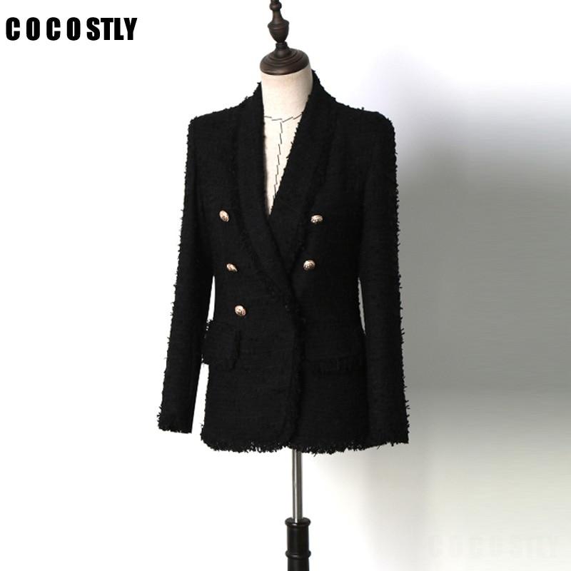 Винтаж Chic Проверено твидовый пиджак Для женщин 2018 Мода золото кнопки Двойной Брестед нагрудные с длинным рукавом Элегантные женские пальто