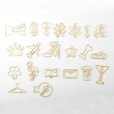 30 Clips/Pack Creative Gold Paper Clips Decorative Airplane Flamingo Bone Shaped Paper Clips Metal Mini Binder Clips