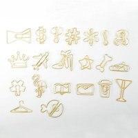 30 Clips/Embalar Criativo Ouro Clipes de Papel Decorativo Avião Flamingo Bone Shaped dos Grampos de Papel do Metal Mini Grampos Da Pasta