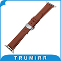 Correa de cuero genuino para 38mm 42mm iwatch apple watch butterfly buckle strap wrist band pulsera negro marrón + adaptadores