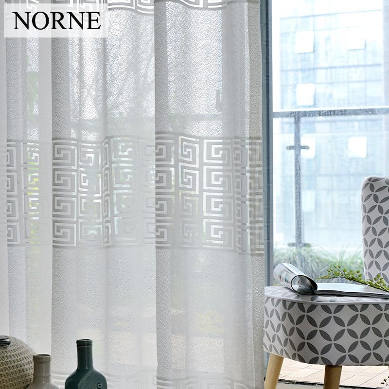 NORNE Dekorativt halvt hvit blonder-gardin til vindus-spisestue Stue - Hjem tekstil