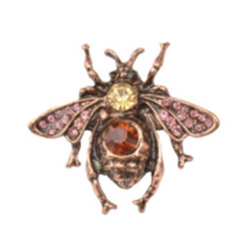 Vintage Inset Lebah Bros Pin Rhinestone Lebah Bros Kerah Kecil Nada Bug Terbang Lebah Merah Tembaga Antik