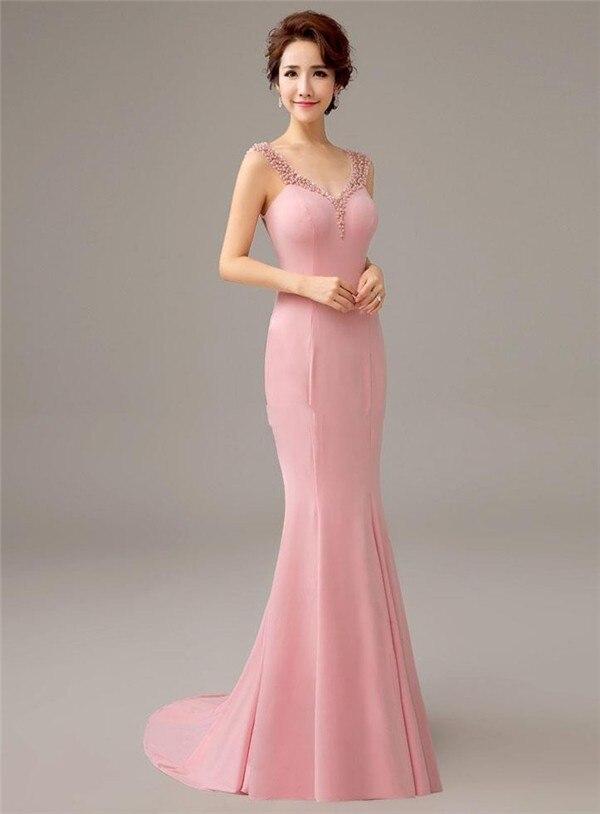 1118431780a Довольно Новинка 2017 года розовый Русалка вечернее платье с жемчугом и  бантом Вечерние платья Длинные Одежда