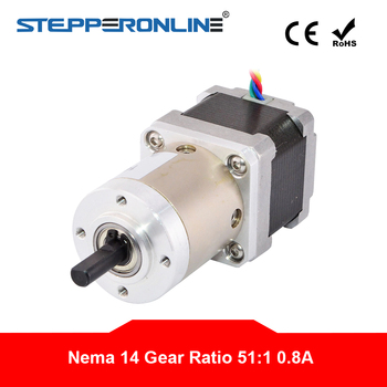 51:1 Planetary Gearbox Nema 14 Gear Stepper Motor Extruder 4-lead 0.8A Nema14 Step Motor for CNC 3D Printer image