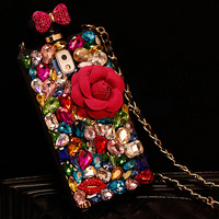 Luxury Bling Crystal Diamond Flower Perfume Bottle Case For IPhone 6 6S Plus 5 5S 4