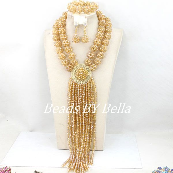 Amazing Gold African Wedding Beads Jewelry Set Crystal Bridal Costume Jewelry Set Nigerian Party Balls Set Free Shipping ABY449 цена