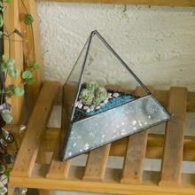 Modern Small Landscape Pyramid Glass Geometric Terrarium DIY Tabletop Succulent Plant Box Container Decorative Flower Pot Bonsai