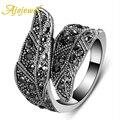 Модное ajojewel черное CZ широкое кольцо в виде листа для женщин ювелирные изделия в винтажном стиле - фото