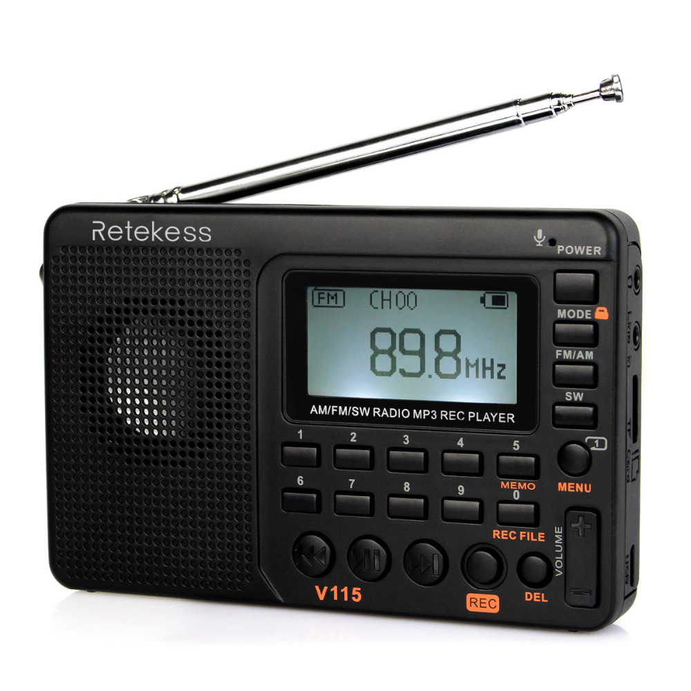 Retekess V115 Radio FM/AM/SW World Band Receiver MP3 Player REC Recorder With Sleep Timer Black FM Radio Recorder F9205A цена 2017