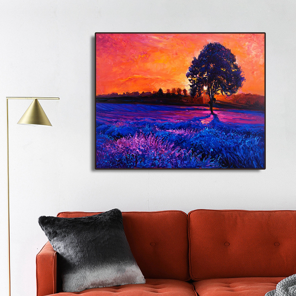 Dusk Lavender Flowers Field Decor Canvas Painting Calligraphy Pictures For Living Room Bedroom Artwork Modern Home Wall No Frame