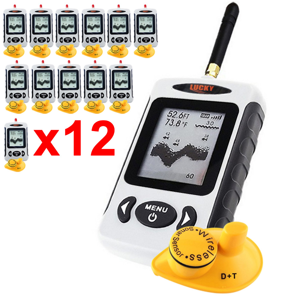 12 x pieces Dot Matrix Fish Finder Sonar 45M Radio Sea Bed Contour LUCKY FFW-718 Digital Wireless Fish Detector lucky fishing sonar wireless wifi fish finder 50m130ft sea fish detect finder for ios android wi fi fish finder ff916
