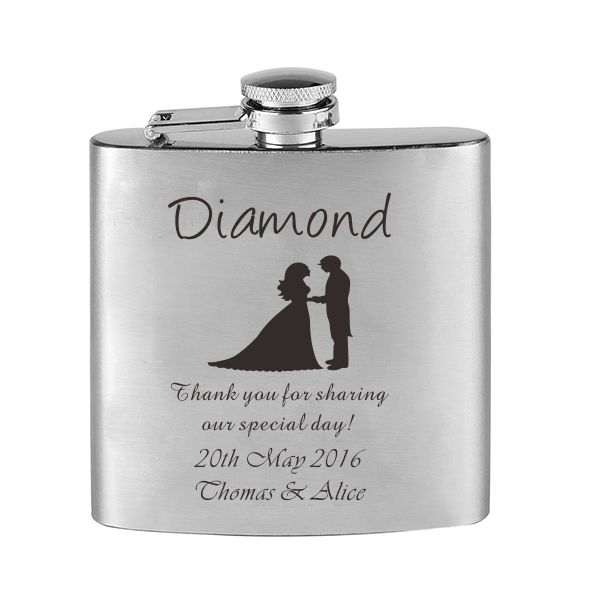 Gifts For Wedding Night: Personalized Engraved 6oz Hip Flask Stainless Steel