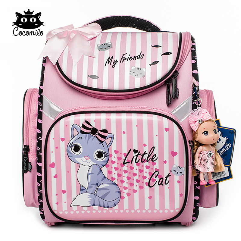 Cocomilo 2018 Children Backpack For Girls Cartoon Cat Pattern Backpacks Orthopedic School Bags Student Satchel Mochila Infantil(China)