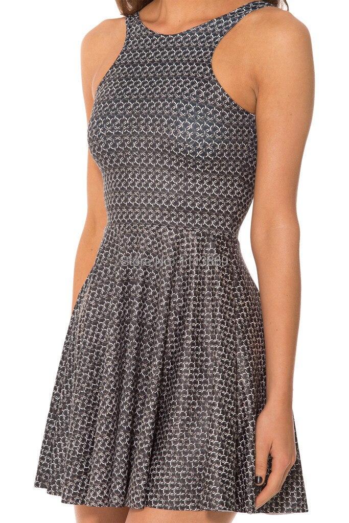 Olso New 2014 Black Milk Woman Fashion Dress Sexy Party Dress CHAINMAIL REVERSIBLE SKATER DRESS casual dresses summer dress plus polka dot