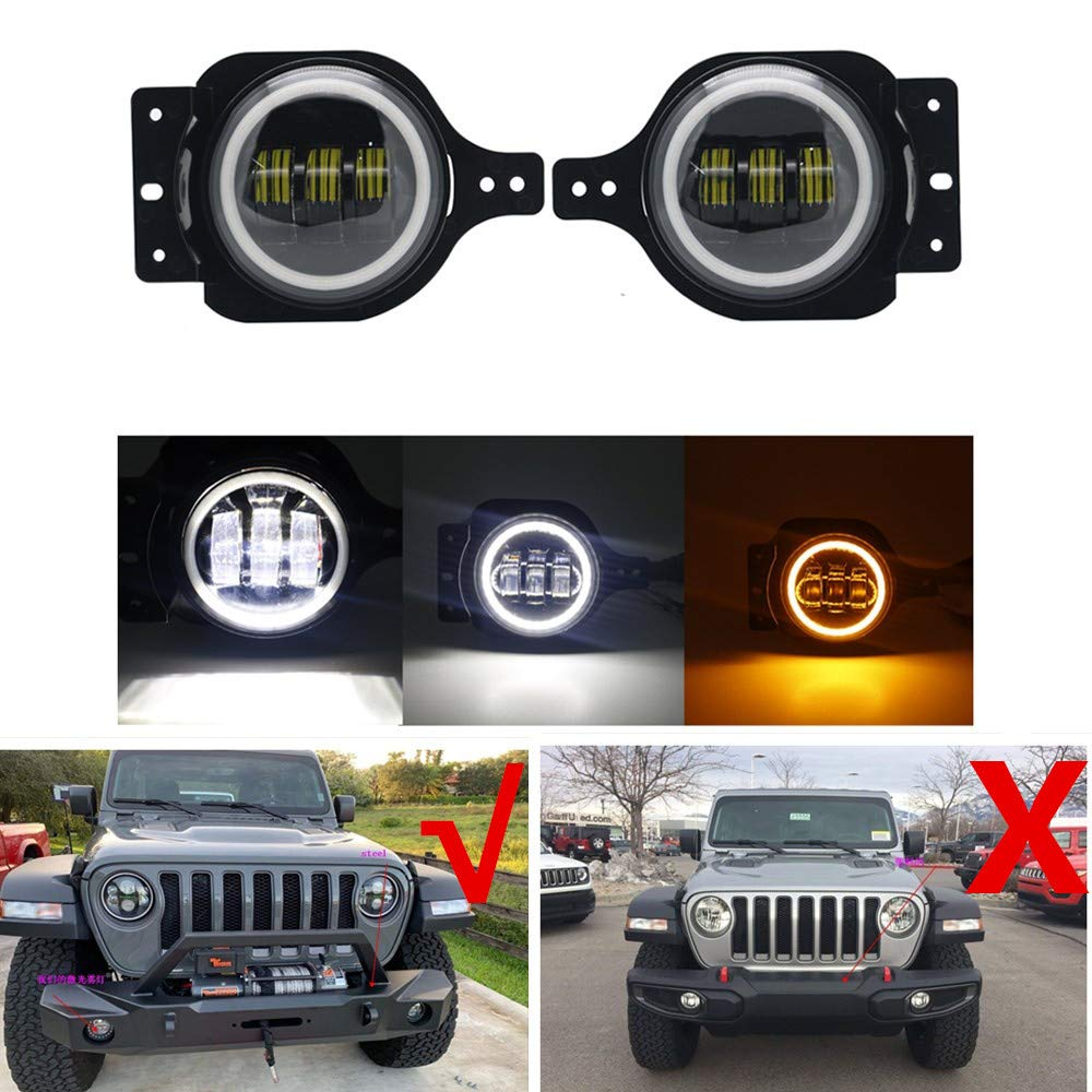 Smoke Len LED Projector Front Replacement Bumper Round Fog Light Lamp+Bulb+Mount
