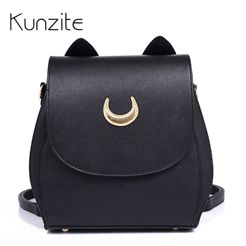 2017 New Sailor Moon Black Women PU Leather Backpack School Bags for Teenage Girls Leather Rucksack Brand Shoulder Sac A Dos new sailor moon black pu leather backpack women shoulder rucksack 2016 school bags for teenage girls brand sac a dos femme