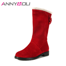 ANNYMOLI Women Winter Boots Flats Mid-Calf Boots Bow Basic Round Toe Fur Shoes Winter Slip On Ladies Casual Boots Red Size 33-43