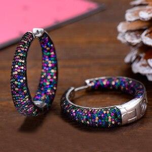 Image 2 - GODKI 37mm Trendy Large Hoop Earrings Big Circle Earrings Cubic Zircon Brincos Celebrity Brand Loop Earrings for Women Jewelry
