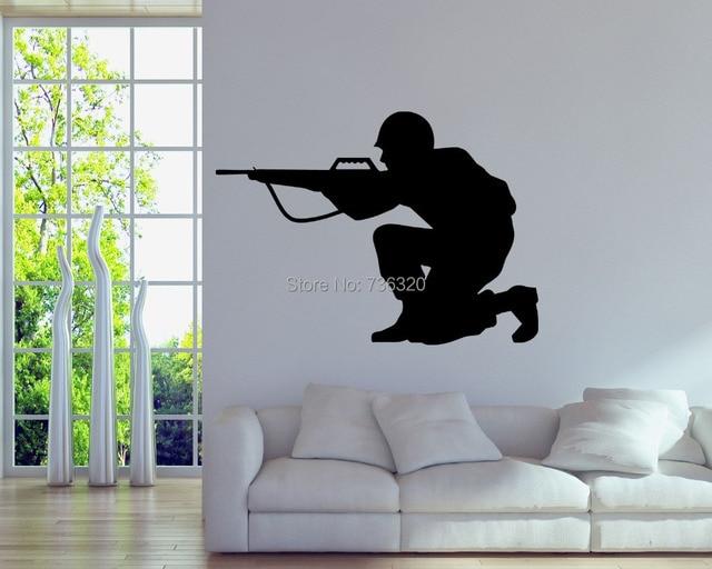 army gun vinyl wall decal military soldier army men wall sticker bar