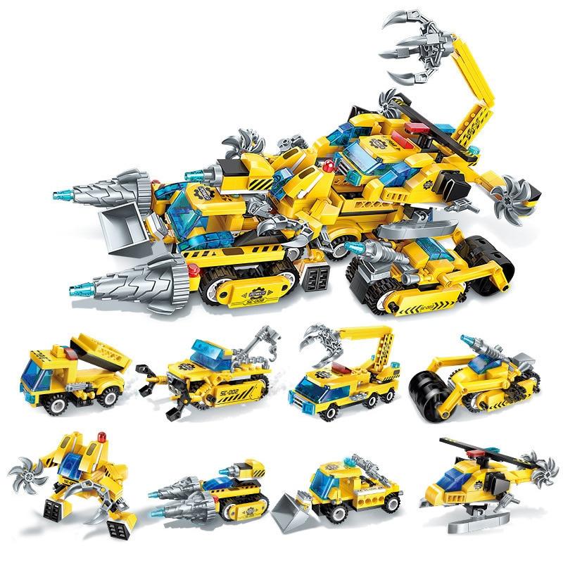 8 In 1 619Pcs Phantom Ninjas Chariot DIY Model Building Blocks Kit Toys For Children Boys Gifts Compatible Legoings Ninjagoes