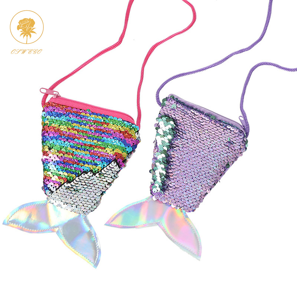 Coin Purses 2019 Brand New Adult Kids Baby Girl Boy Sequin Coin Purse Cartton Fish Tail Laser Colorful Purses Bags Scales Wallet Gifts