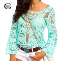 Lace Girl Transparent Lace Blouse Sexy Fashion Crochet Tops Blusas Femininas 2017 Women Long Sleeve Swimwear Bikini Blouse Shirt