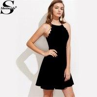 Sheinside Scallop Trim Partei Kleid 2017 Frauen Schwarz Sexy Spaghettibügel Club Kleider Cami Elegantes Flare Mini Kleid